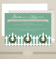 FREE SHIPPING!  Santa has a New Stop - Just Moved - New Address - Holiday Card -  Christmas Card - Personalized - Digital or Printed