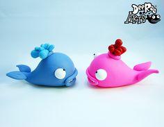 Whaley Love <3 by Dee Raa Arts polymer clay cute kawaii sculpey whale love valentine valentines fimo https://www.facebook.com/DeeRaaArts
