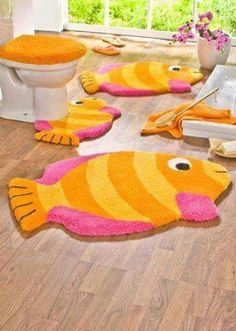 5 Piece Bathroom Rug Sets Kids Colorful Orange Pink Fish Bath Rug Sets : Inspiringly Awesome 5 Piece Bathroom Rug Sets Of Playful And Cheerfully Bright Themes And Designs Ideal For Your Kids Bathing Space Large Bathroom Rugs, Fish Bathroom, Bathroom Rugs And Mats, Bathroom Stuff, Bathroom Sets, Bath Rugs, Yellow Fish, Pink Fish, Tapetes Diy