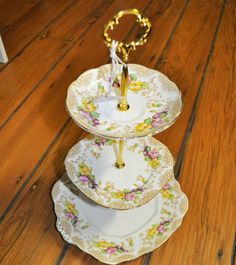 Royal Albert 3 Tier matching Cake Stand Vintage English Royal Albert China plates & Old vintage hand painted large decorative plate bright colors and ...