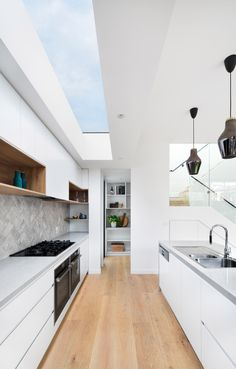 - Charles Street Residence by DX Architects in which the interior was completed with white painted walls, a feature exposed brick fireplac. Kitchen Room Design, Interior Design Kitchen, Exposed Brick Fireplaces, Loft Interior, Timber Flooring, Home Kitchens, House Plans, Ikea, Sweet Home