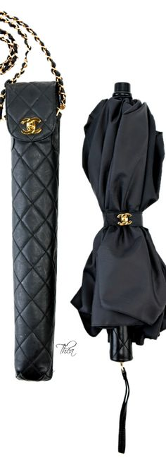 The most luxurious umbrella to protect the perfect coif from the rain!Chanel Black Umbrella with Quilted Carry Bag Fashion Mode, Fashion Bags, Love Fashion, Womens Fashion, Coco Chanel, Chanel Black, Chanel Couture, How To Have Style, My Style