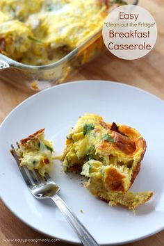 """""""Clean Out The Fridge"""" Breakfast Casserole: This easy to make breakfast casserole whips up fast and uses whatever, meats, vegetables, and cheeses you have on hand. It is savory, delicious, and so simple anyone can make it, but everyone will enjoy it! - Eazy Peazy Mealz"""