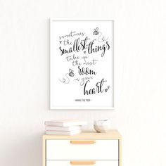 Sometimes The Smallest Things Take Up The Most Room In Your Heart | Winnie The Pooh Quotes | Printable Nursery Art | Classic Winnie The Pooh Nursery | Black And White | Winnie The Pooh Wall Art #winniethepooh #nurserydecor