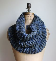 Chunky knit cowl. Slate. Blue. Army Green. Unisex cowl. Circle scarf. Infinity scarf.