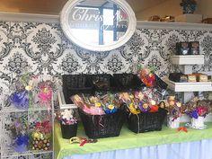 Decorating the #BurlOn #BurlOnt shop for Summer!   The full layout! Cookie bouquets, Christy's Crunch, cookie arrangements, and brittle. #summer #summerdecor #summertimedecor #decor