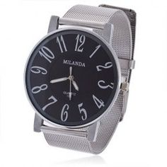 $4.91 Chic Milanda 198 Round Dial Steel Quartz Wrist Watch with Numerals Hour Marks for Men - Black Dial