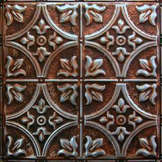 Painting embossed wallpaper with metalic glaze for ceiling - American tin tiles wallpaper ...