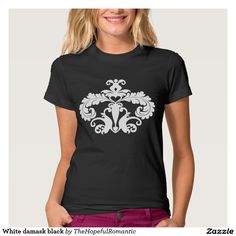 White damask black t shirt. Very cute and elegant look dressed up or down. #fashionable #cutefashion #damask