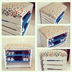 Imágenes y consejos geniales para poner orden en casa y aprovechar los muebles … Images and great tips to put order at home and make the most of the furniture. Pallet Projects, Home Projects, Diy Pallet, Pallet Ideas, Palette Diy, Diy Home Decor, Room Decor, Diy Casa, Wooden Crates