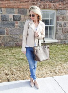 Perfect spring outfit, cream moto jacket, white tee and nude flats