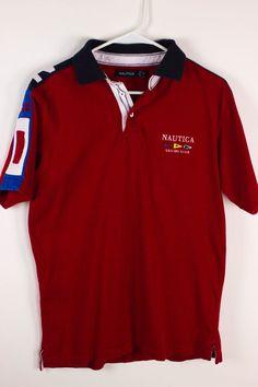 Vintage 90s Nautica Sailing Club Mens S Small 1983 Red Polo Shirt Short Sleeve…
