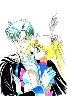 Tuxedo Kamen and Sailor Moon   art by Marco Albiero; from the Sailor Moon Thailand Fanclub Facebook Page