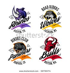Vintage American furious bull, wolf, panther, rhino bikers club tee print vector design. Modern street wear t-shirt emblem. Premium quality wild animal superior logo concept illustration.