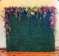 Moss Grass Topiary Wall w/ cascading roses. Wedding: Photo Booth Background Prop