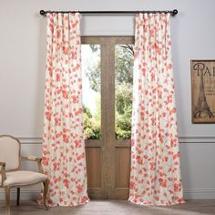 EFF Dogwood Curtain ($98) ❤ liked on Polyvore featuring home, home decor, window treatments, curtains, pink, pink flower curtains, rod pocket panel, floral curtains, flower stem and flowered curtains