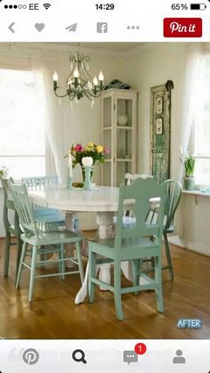 Mismatched dining chairs, duck egg blue?