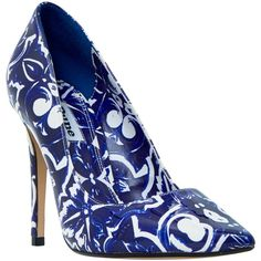 Dune Blue Pointed Toe Stiletto Court Shoes, Blue (£85) ❤ liked on Polyvore featuring shoes, pumps, blue pointed toe pumps, high heel shoes, patent leather pumps, blue shoes and high heeled footwear