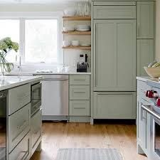 Sage Green Kitchen Cabinets - Design photos, ideas and inspiration. Amazing gallery of interior design and decorating ideas of Sage Green Kitchen Cabinets in living rooms, kitchens by elite interior designers. Green Kitchen Designs, Sage Green Kitchen, Green Kitchen Cabinets, Kitchen Cabinet Colors, Painting Kitchen Cabinets, New Kitchen, Floors Kitchen, Green Sage, Island Kitchen