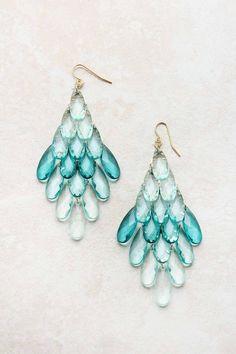 Sky Watercolor Chandelier Earrings on Emma Stine Limited