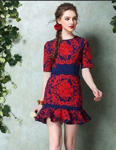 New Heavy Red Lotus Leaf Embroidered Skirt Waist Dress on Luulla