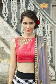 Pink crop top in raw silk with a black and white lehenga in plaid and raw silk, and a grey dupatta in soft net India Fashion, Ethnic Fashion, Asian Fashion, Indian Attire, Indian Wear, Indian Dresses, Indian Outfits, Choli Dress, Modern Saree