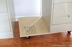 Metal-file-cabinet-makeover, how to add wheels