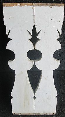 TWO ANTIQUE VICTORIAN FLAT SAWN PORCH BALUSTERS GINGERBREAD PANELS