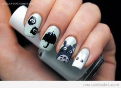 I've been watching way too many Studio Ghibli films as of late, and felt inspired by 'My Neighbor Totoro,' so naturally I did a manicure! Kawaii Nail Art, Cute Nail Art, Beautiful Nail Art, Cute Nails, Totoro, Nail Art 2015, Anime Nails, Nail Art Photos, Animal Nail Art