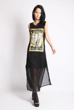 XuHaoYing Лигер тотем слон печати комбинезон платье шифон сплит подол - Taobao