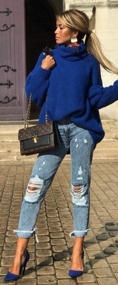 #winter #outfits turtleneck sweater, distressed gray jeans and pair of blue pointed-toe stilleto shoes