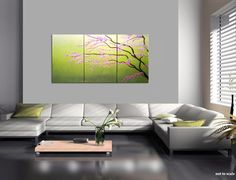 72x36 CUSTOM HUGE Cherry Blossom Painting Spring Greens Fresh Zen Asian Style Calming and Peaceful Wall Art $365