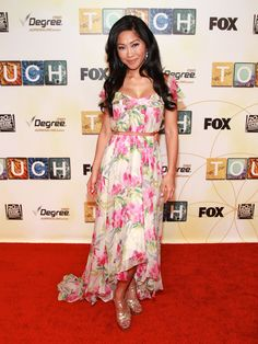 Julie Chang wearing Elizabeth and James Dress/Shoes by YSL