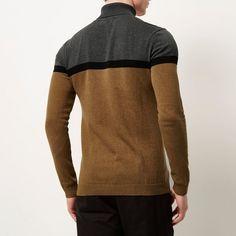 Grey colour block roll neck jumper