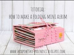 Tutorial: How to create a folding mini album - YouTube BUEN TUTORIAL, ES MUDO PERO SALEN MUY BIEN LAS MEDIDAS EN CETÍMETROS.
