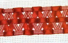 Detalhes que gosto: Bordado em fita ou Trançado - passo a passo - vermelho e xadrez 1