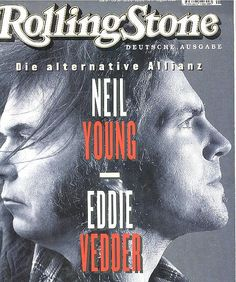 neil young and eddie vedder on rs Neil Young, Music Magazines, Film Music Books, Rock & Pop, Rock And Roll, Rolling Stone Magazine Cover, Rap, Jeff Ament, Matt Cameron