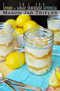 Lemon and White Chocolate Tiramisu Mason Jar Trifles ~ a quick and easy springtime dessert; cute and portable for picnics or parties | FiveHeartHome.com