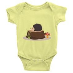 This short-sleeve baby onesie is soft, comfortable, and made of 100% cotton. It's designed to fit infants of all sizes, with a rib knit to give good stretch and a neckband ... #hedgehog