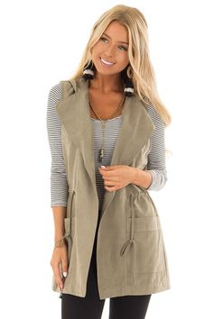 430dd9b7fa Olive Hoodie Vest with Drawstring and Pockets - Lime Lush Boutique Olive  Hoodie