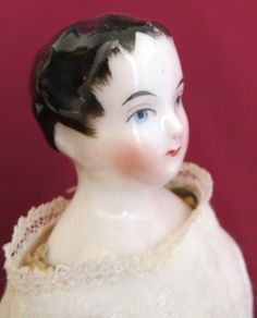 Antique Early China Head Doll on French Body with Original Corset