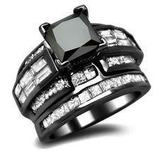 4.52ct Black Princess Cut Diamond Engagement Ring Bridal Set 18k #Black #Gold $4,295.00