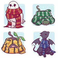 Hogwarts Creatures in Scarves Stickers and/or Print Gryffindor, Hufflepuff, Ravenclaw, Slytherin Créatures de Poudlard en foulards autocollants ou impression Harry Potter Fan Art, Harry Potter Anime, Hery Potter, Harry Potter Imagines, Cute Harry Potter, Mundo Harry Potter, Harry Potter Drawings, Harry Potter Universal, Harry Potter World