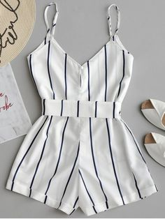 Striped Belted Cami Romper - WHITE S