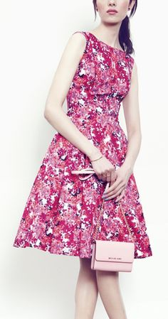 Pretty bright floral fit & flare dress.