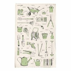 At last we have found a tea towel that captures the essence of gardening. The worn wheel barrow, the battered watering can and the trusty trowel. All the familiar tools of the trade, beautifully illustrated on organic cotton. What more could a gardener wish for?