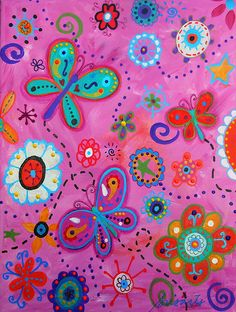 Butterfly Flower Whimsical Painting, perfect for baby girl nursery room design #prisarts