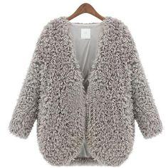 Women Winter Fashion Coat Parka Warm Faux Fur Long Sleeve Jacket Overcoat What You x Fashion Coat Moda Vintage, Vintage Mode, Grey Faux Fur Coat, Faux Fur Jacket, Fuzzy Coat, Gray Coat, Black Coats, Capes For Women, Clothes For Women
