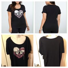 New Goth Punk Rockabilly Torrid Black Skull & Pink Rose Heart Scoop Tee. Available in sizes 3x, 4x.