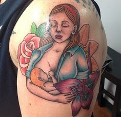 Beautiful breastfeeding tattoo for a nursing mom!